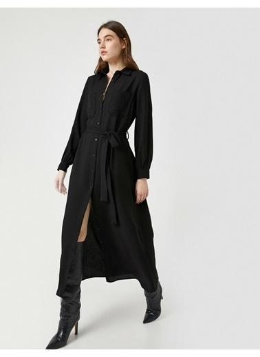 Koton Gömlek Yaka Uzun Kollu Dügmeli Uzun Elbise Siyah